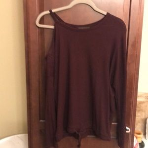 Wine colored off shoulder shirt